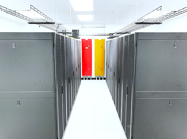 data center in chiefs red and gold