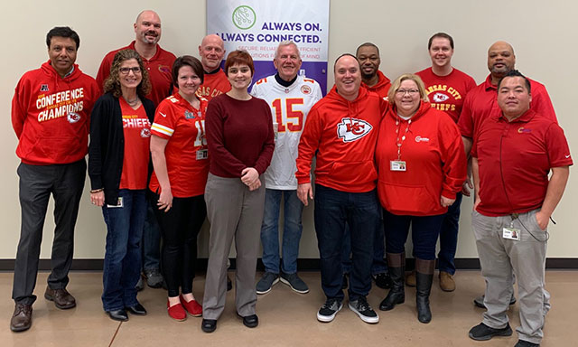 cavern team in chiefs gear for superbowl celebration